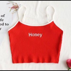 Red honey crop top